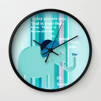 dr seuss Wall Clocks featuring Dr. Seuss Quote by Laura Santeler