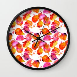 Watercolor fall linden leaves Wall Clock