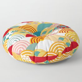 Nature background with japanese sakura flower, orange red pink Cherry, wave circle pattern Floor Pillow
