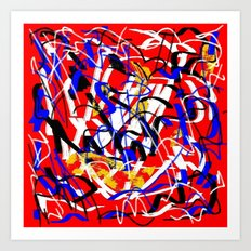 Abstract red white yellow blue Art Print