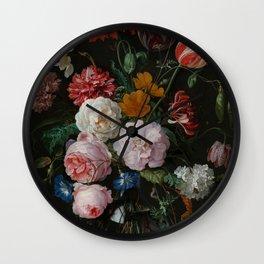 "Jan Davidsz. de Heem ""Still Life with Flowers in a Glass Vase"" Wall Clock"