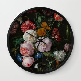 "Jan Davidsz. de Heem ""Still Life with Flowers in a Glass Vase"" Wall Clock"