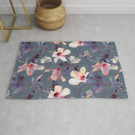 Butterflies and Hibiscus Flowers - a painted pattern Rug