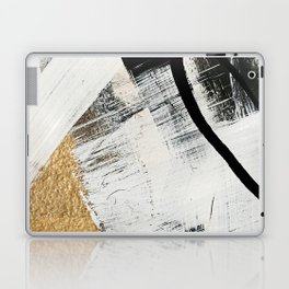 Armor [9]: a minimal abstract piece in black white and gold by Alyssa Hamilton Art Laptop & iPad Skin