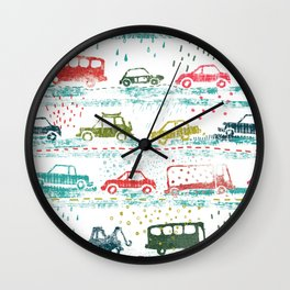 cars in the rain Wall Clock