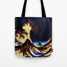 The GREAT Wave Midnight Blue Brown Tote Bag