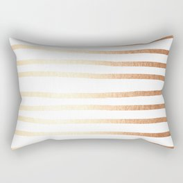 Simply Drawn Stripes Deep Bronze Amber Rectangular Pillow