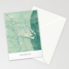 Valencia Map Blue Vintage Stationery Cards