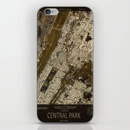 Central Park 1947, old vintage map, map poster new york iPhone Skin