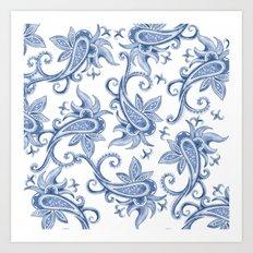 Paisley: Monaco Blue Art Print