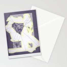 scan of yellow highlighter and blue ballpoint pen on black and white photocopy  Stationery Cards
