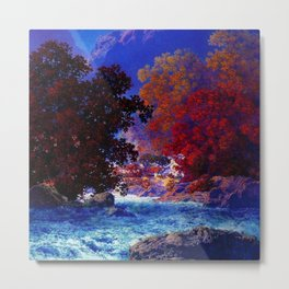 Swift Water River and Autumn Red Leaves by Maxfield Parrish Metal Print