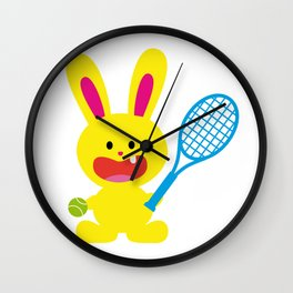 One Tooth Rabbit Play Tennis Wall Clock