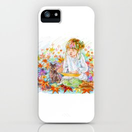 A girl with a kitten vol.4 iPhone Case