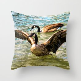 Canada Geese At Detroit River Throw Pillow