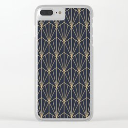 Art Deco Vector in Blue and Gold Clear iPhone Case