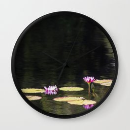 Water Lillies on Golden Ripples Wall Clock