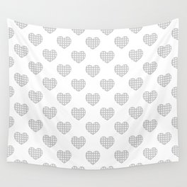 Gray and White Gingham Hearts on White Wall Tapestry