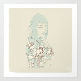 Girl with the blue hair Art Print