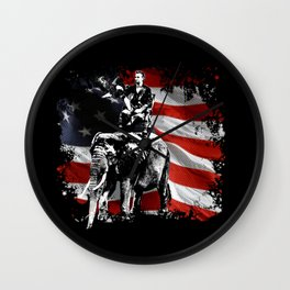 Preposterous Presidents - Abraham Lincoln and Bald Eagle Riding an Elephant Wall Clock