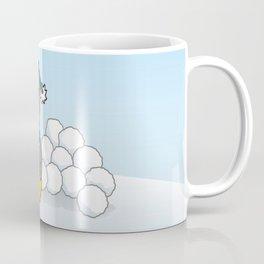 Little penguin sitting with snowballs Coffee Mug