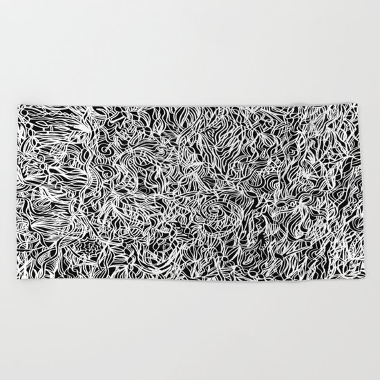 White and Black Beach Towel
