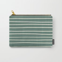 Dover White 33-6 Hand Drawn Horizontal Lines on Thistle Green 22-18 Carry-All Pouch