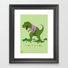 T. Rex in a V-neck Framed Art Print