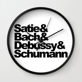 Satie and Bach and Debussy and Schumann Wall Clock