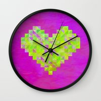 valentines Wall Clocks featuring Neon Valentines by Fimbis