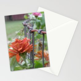 Zinnias on the Garden Fence Stationery Cards