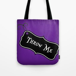"""""""Throw Me"""" Alice in Wonderland styled Bottle Tag Design in 'Shy Violets' Tote Bag"""