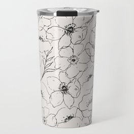 Floral Simplicity - Neutral Black Travel Mug