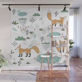 Foxes Wall Mural