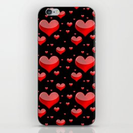 Hearts Red and Black iPhone Skin