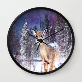 Christmas Deer In Magic Forest Wall Clock