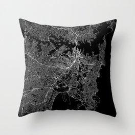Sydney Black Map Throw Pillow