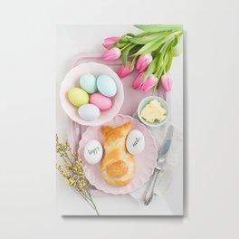 Easter breakfast table Metal Print