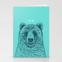 i like you Stationery Cards featuring I Like You (Bear) by Rachel Caldwell