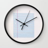 notebook Wall Clocks featuring Line art: minimalist lined notebook paper by Bob Fnord