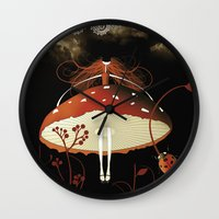 moulin rouge Wall Clocks featuring Rouge by zazacadabra
