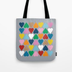 Up and Down Hearts on Grey Tote Bag