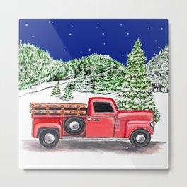 Old Red Farm Truck Winter Metal Print