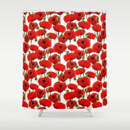 Red Poppy Pattern Shower Curtain
