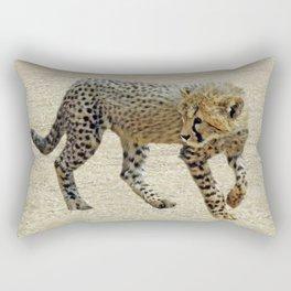 Baby cheetah learning to stalk Rectangular Pillow