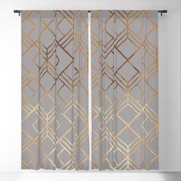 Modern elegant gray gold foil geometrical gradient Blackout Curtain