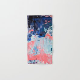 Mixtapes and Bubblegum: a colorful abstract piece in pinks and blues by Alyssa Hamilton Art Hand & Bath Towel