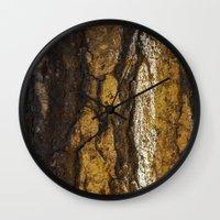 in the flesh Wall Clocks featuring Flesh  by Liliana Scarlet Sedano