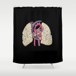 Fetal Heart with Baby's Breath Lungs Shower Curtain