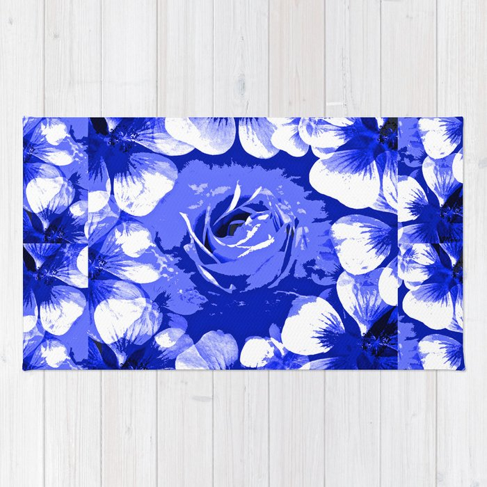 Roses Blue And White Toile 2 Rug